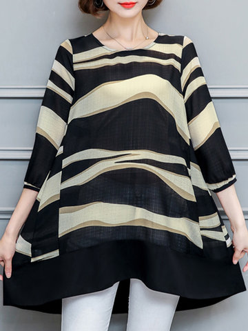 Casual Women Loose Stripe Irregular 3/4 Sleeve Mini Dress