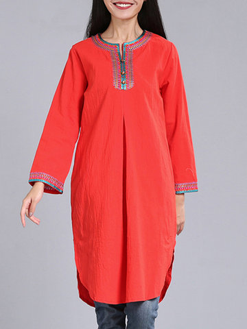 Casual Broderie Patchwork O-Neck manches longues femmes robes