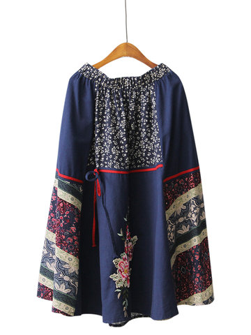 Chinese Style Elastic Waist Embroidery Splicing Printed Skirts