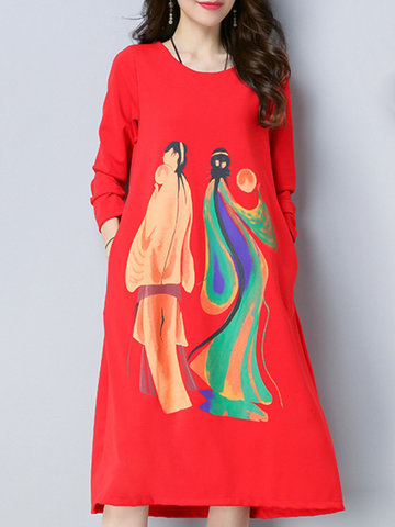 Casual Print Loose Long Sleeve O-neck Women Mid-long Dresses