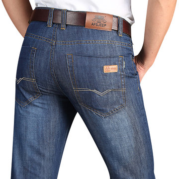 Plus Size Straight Thin Jeans for Men