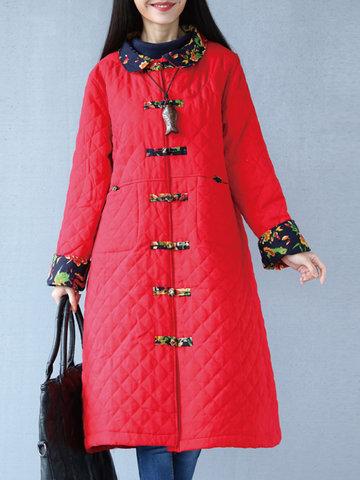 Floral Print Patchwork Women Coats