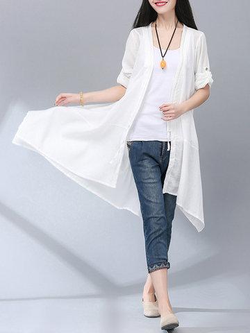 Повседневный Женщины Твердый длинный рукав длинный солнцезащитный чехол