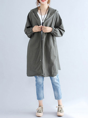 Casual Women Solid Long Sleeve Button Hooded Jacket