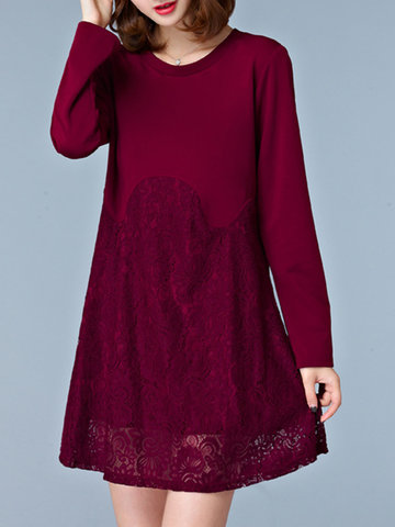 Casual Lace Patchwork Hollow Long Sleeve O-neck Women Dresses