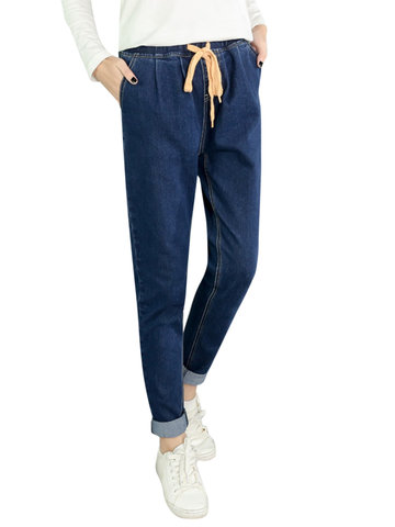 Vintage Pure Color Elastic High Waist Denim Pants