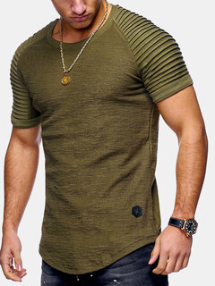 Mens Summer Breathable Solid Color Irregular Hem O-neck Short Sleeve Slim Casual T Shirt
