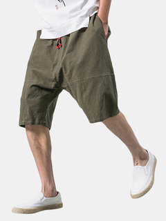 Mens Summer Breathable Cotton Linen Solid Color Knee Length Baggy Loose Drawstring Casual Shorts