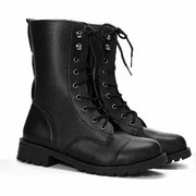 Designer Retro Pu Black Knight Lace Up Flat Ankle Boots - NewChic