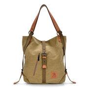 Sac à main décontracté en toile et cuir microfibre multifonctionnel à large capacité sacs à bandoulière sac à dos pour femme
